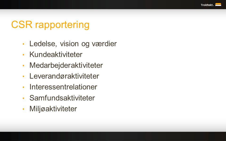 CSR rapportering Ledelse, vision og værdier Kundeaktiviteter