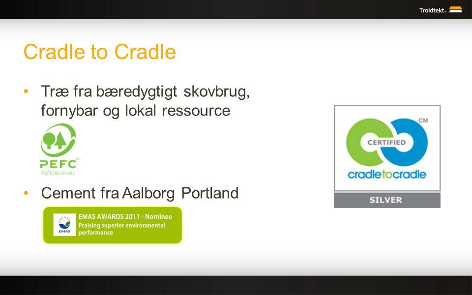 Cradle to Cradle Træ fra bæredygtigt skovbrug, fornybar og lokal ressource.