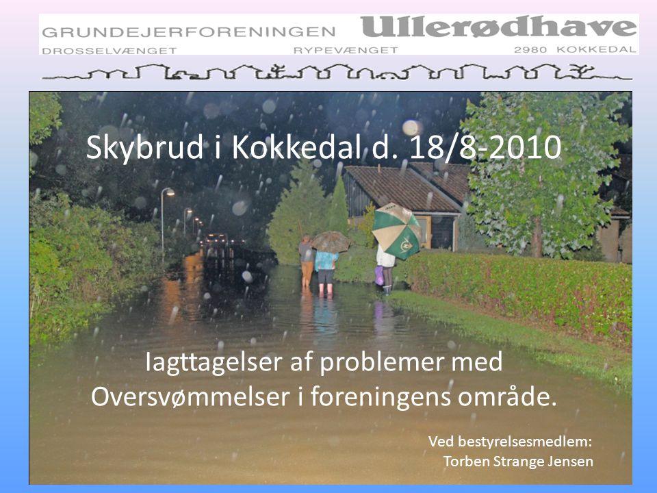 Skybrud i Kokkedal d. 18/8-2010 Iagttagelser af problemer med Oversvømmelser i foreningens område.