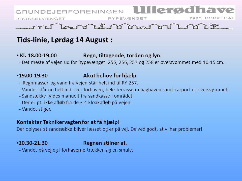 Tids-linie, Lørdag 14 August :