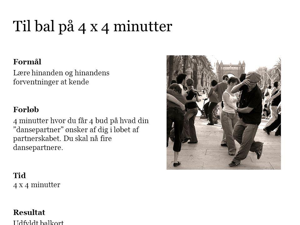 Til bal på 4 x 4 minutter Formål