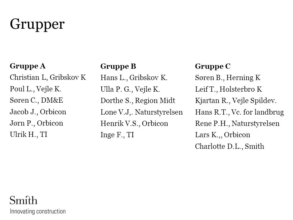 Grupper Gruppe A Christian L, Gribskov K Poul L., Vejle K. Søren C., DM&E Jacob J., Orbicon Jørn P., Orbicon Ulrik H., TI
