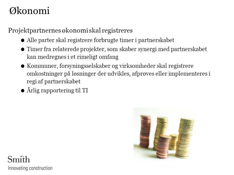 Økonomi Projektpartnernes økonomi skal registreres