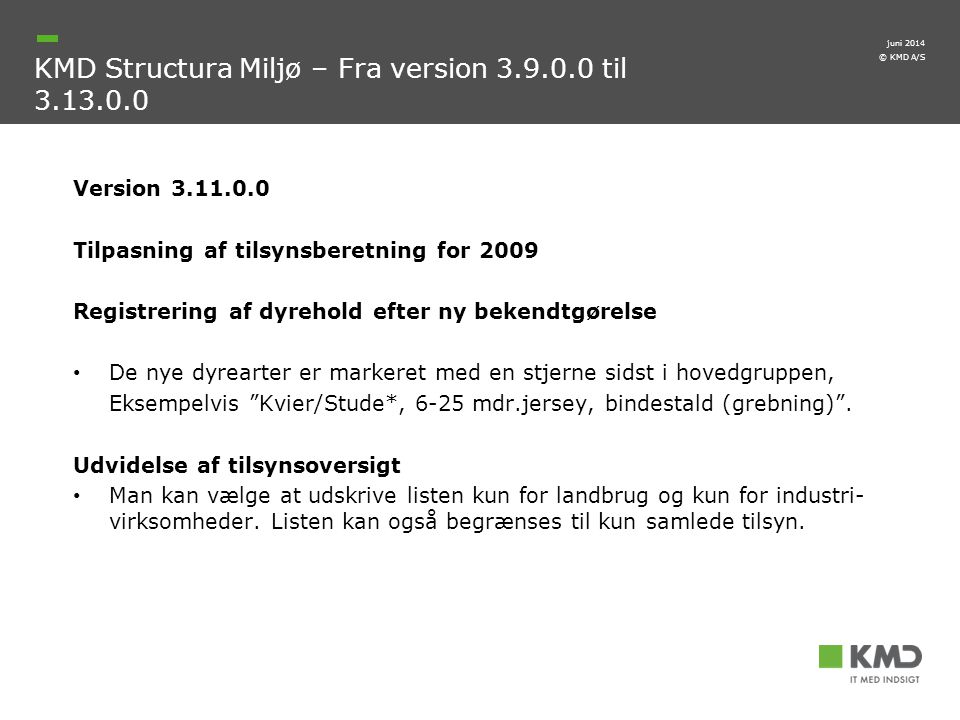 KMD Structura Miljø – Fra version 3.9.0.0 til 3.13.0.0