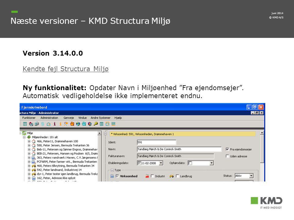 Næste versioner – KMD Structura Miljø