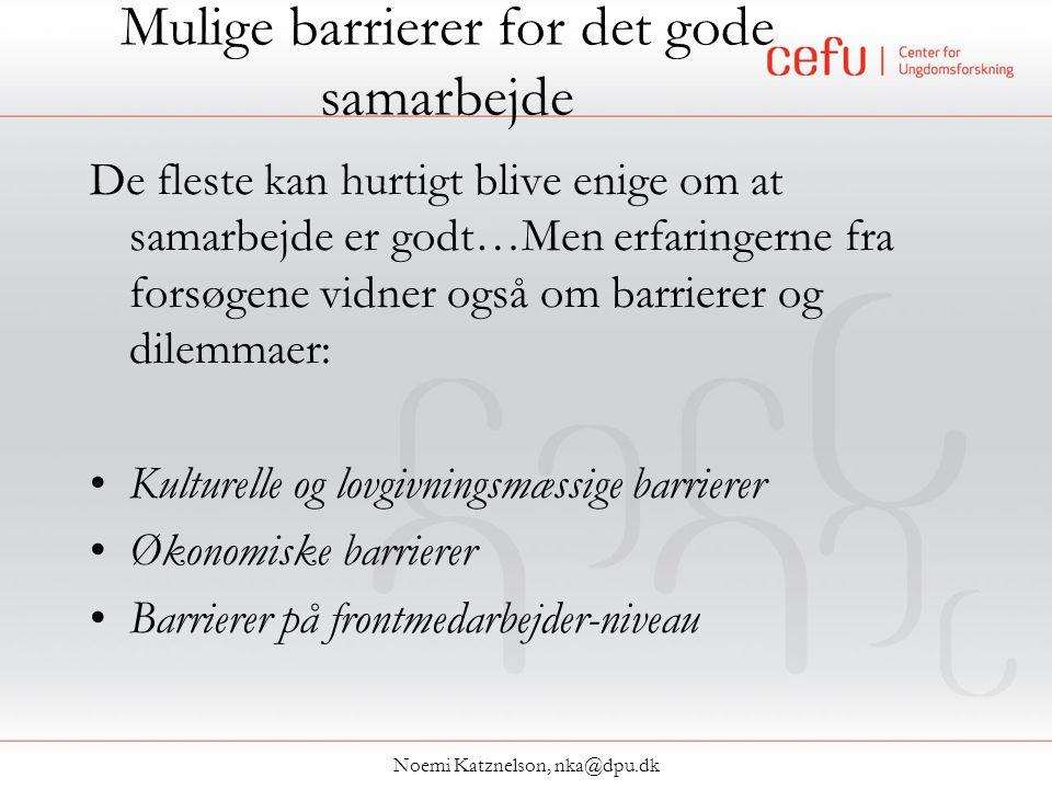 Mulige barrierer for det gode samarbejde