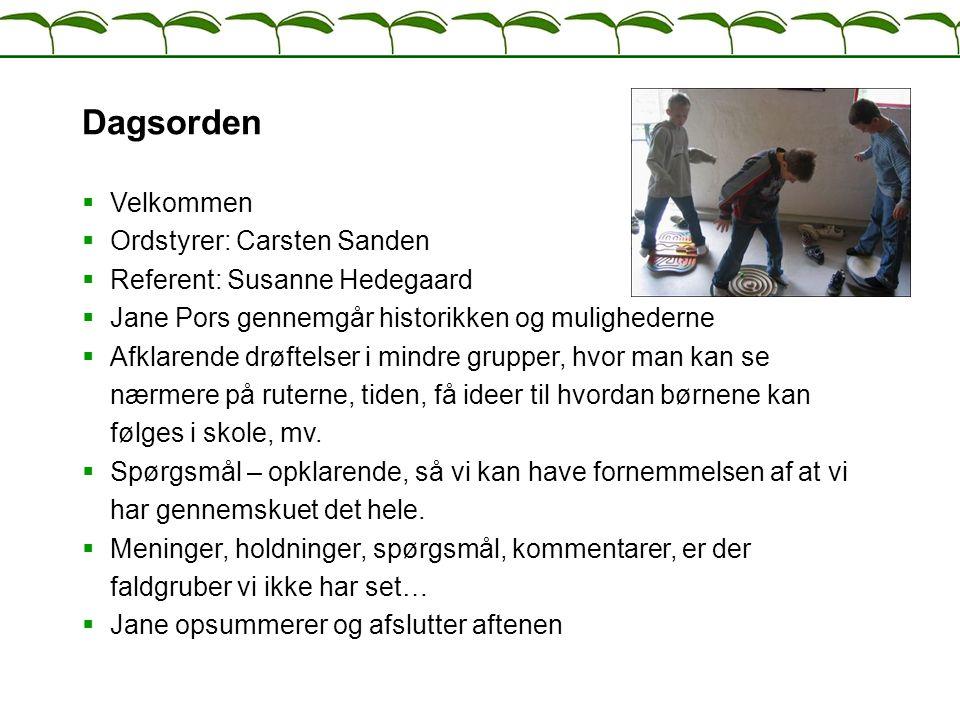 Dagsorden Velkommen Ordstyrer: Carsten Sanden