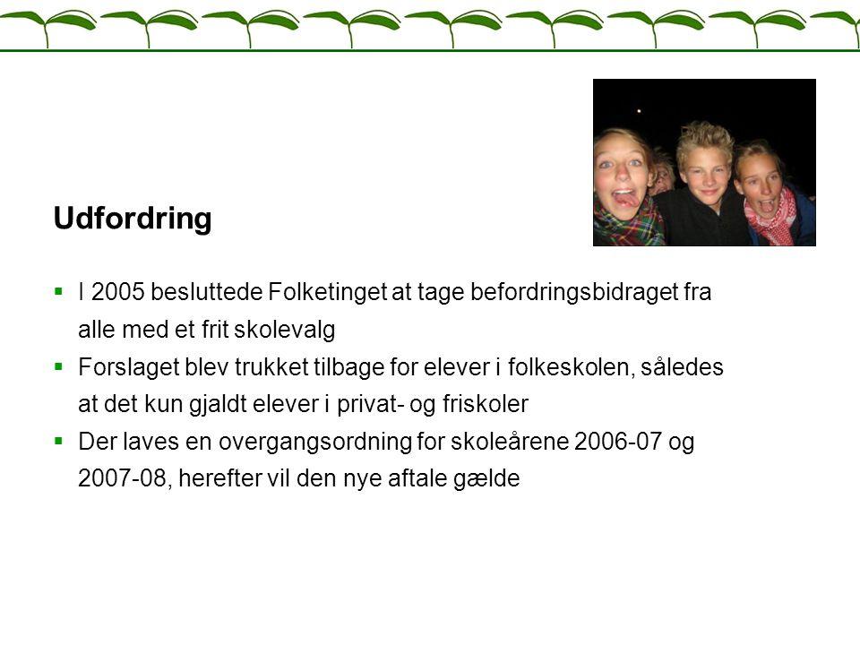 Udfordring I 2005 besluttede Folketinget at tage befordringsbidraget fra alle med et frit skolevalg.