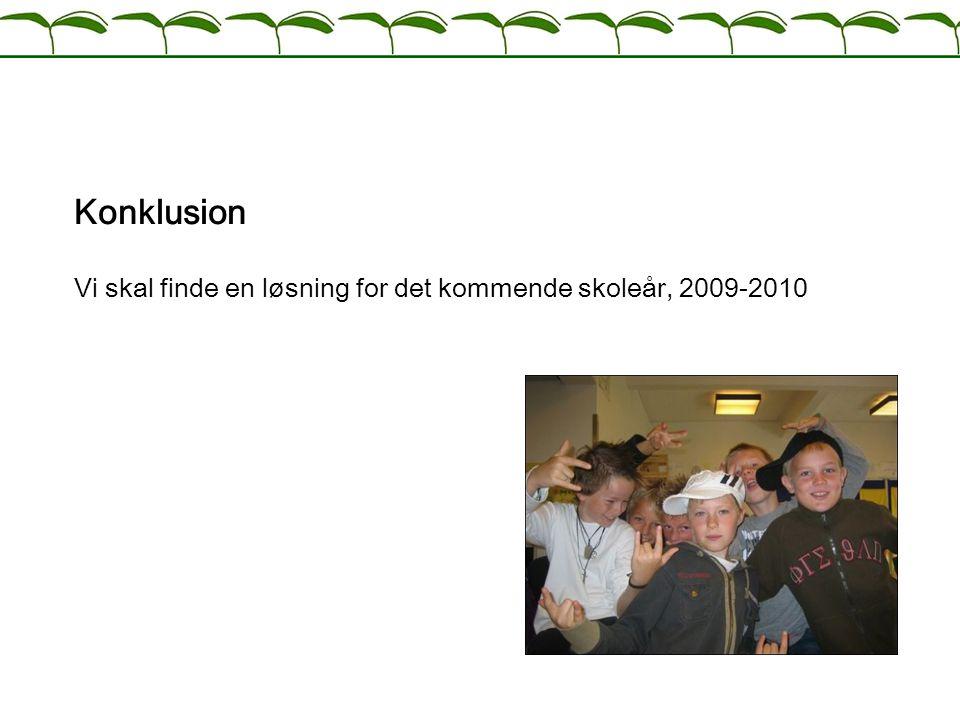 Konklusion Vi skal finde en løsning for det kommende skoleår, 2009-2010