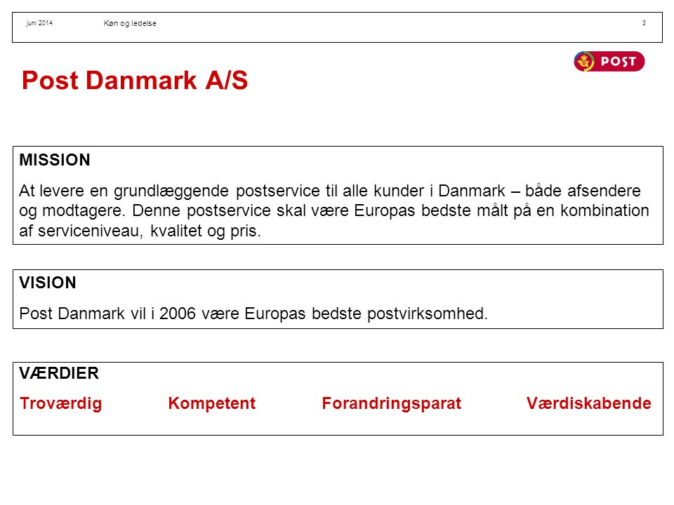 Post Danmark A/S MISSION