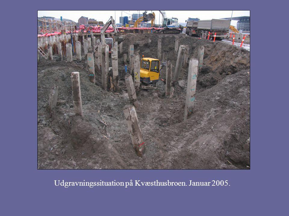 Udgravningssituation på Kvæsthusbroen. Januar 2005.