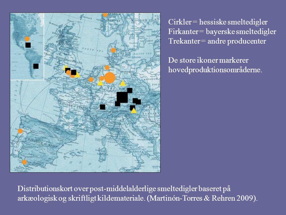 Cirkler = hessiske smeltedigler Firkanter = bayerske smeltedigler Trekanter = andre producenter De store ikoner markerer hovedproduktionsområderne.