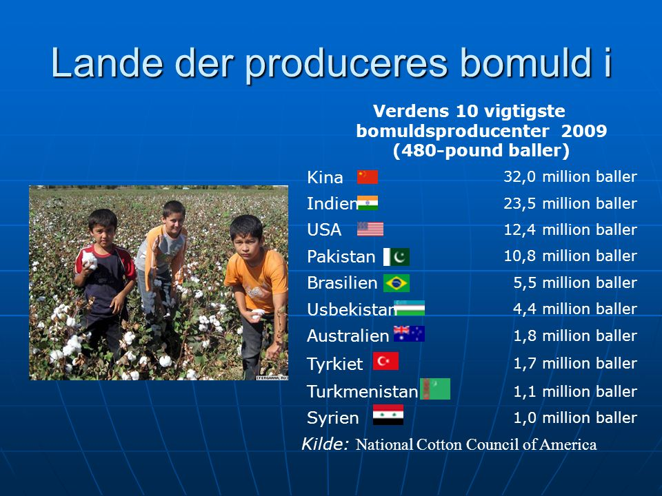 Lande der produceres bomuld i