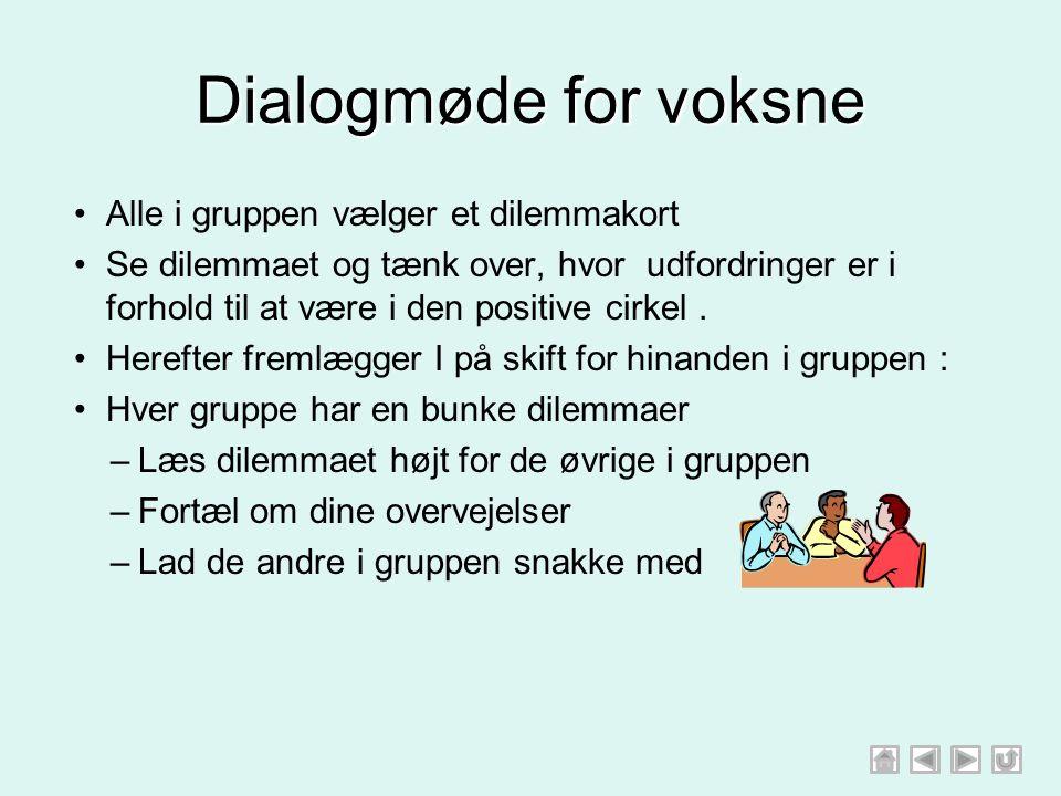 Dialogmøde for voksne Alle i gruppen vælger et dilemmakort