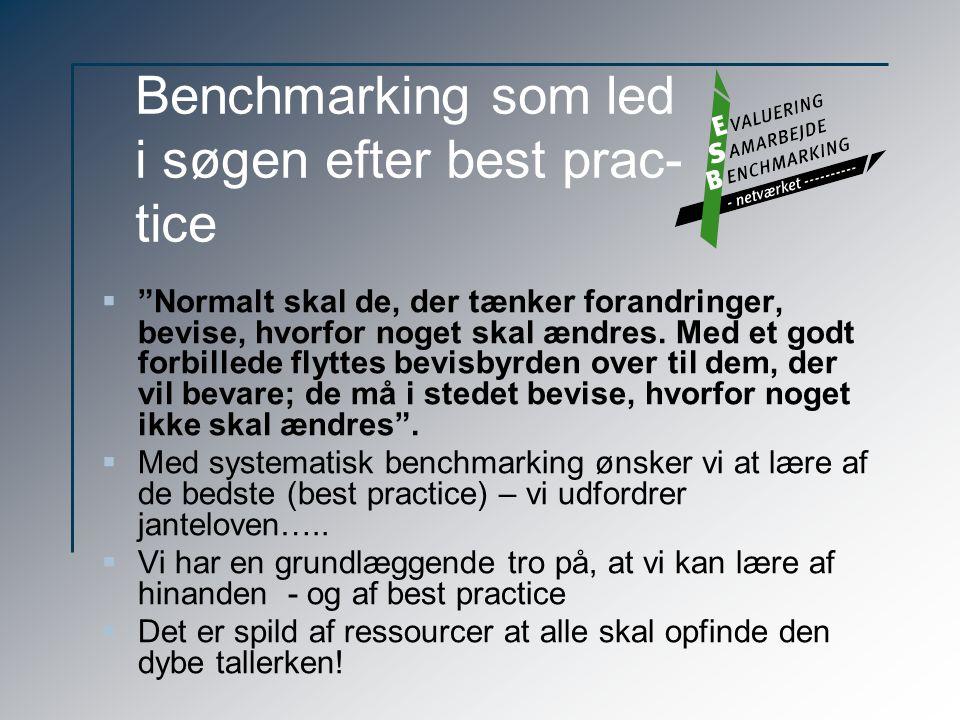 Benchmarking som led i søgen efter best prac- tice