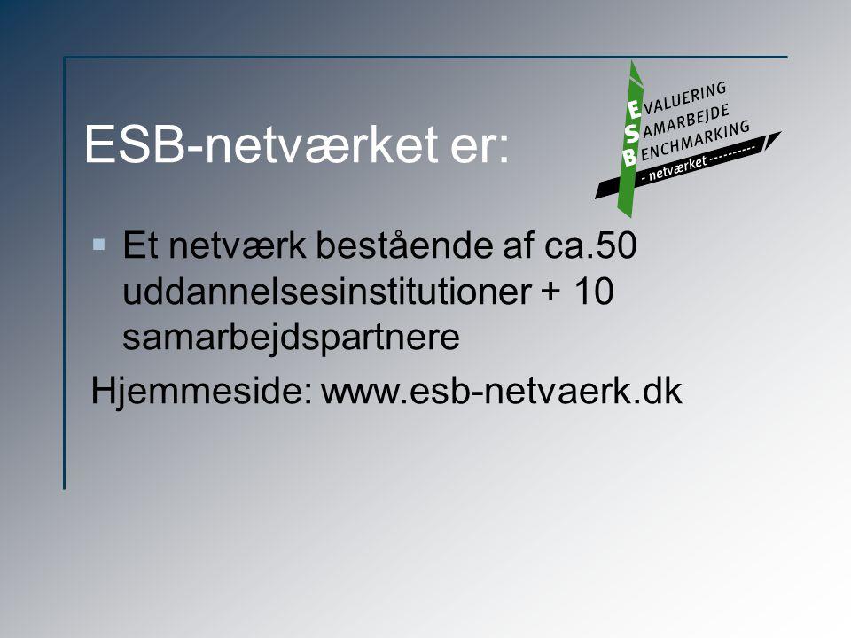 ESB-netværket er: Et netværk bestående af ca.50 uddannelsesinstitutioner + 10 samarbejdspartnere.