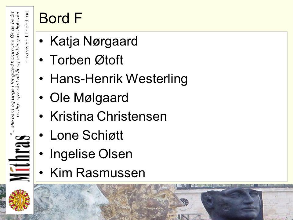 Bord F Katja Nørgaard Torben Øtoft Hans-Henrik Westerling Ole Mølgaard