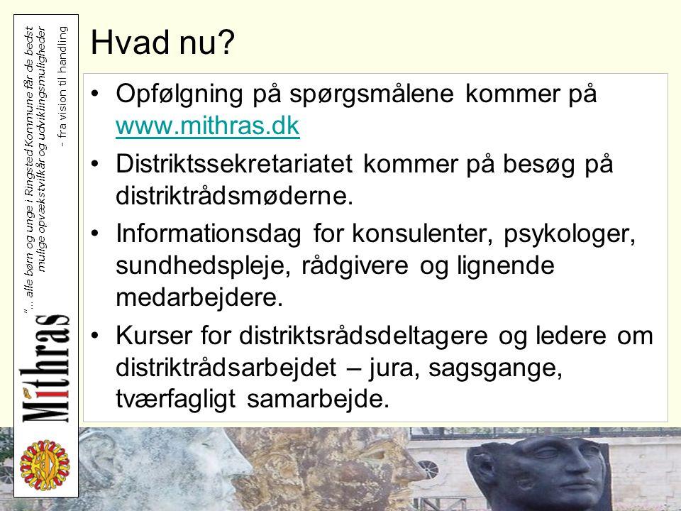 Hvad nu Opfølgning på spørgsmålene kommer på www.mithras.dk