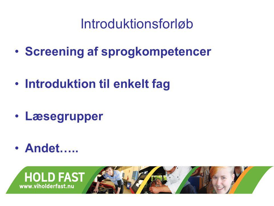 Introduktionsforløb Screening af sprogkompetencer