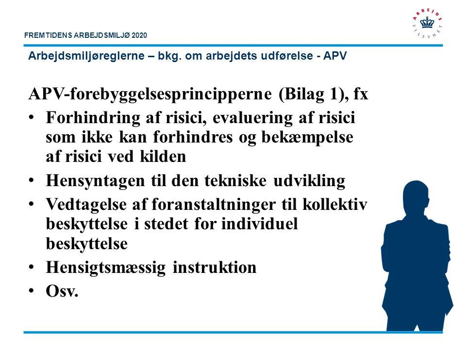 Arbejdsmiljøreglerne – bkg. om arbejdets udførelse - APV
