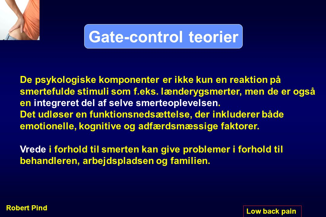 Gate-control teorier De psykologiske komponenter er ikke kun en reaktion på. smertefulde stimuli som f.eks. lænderygsmerter, men de er også.