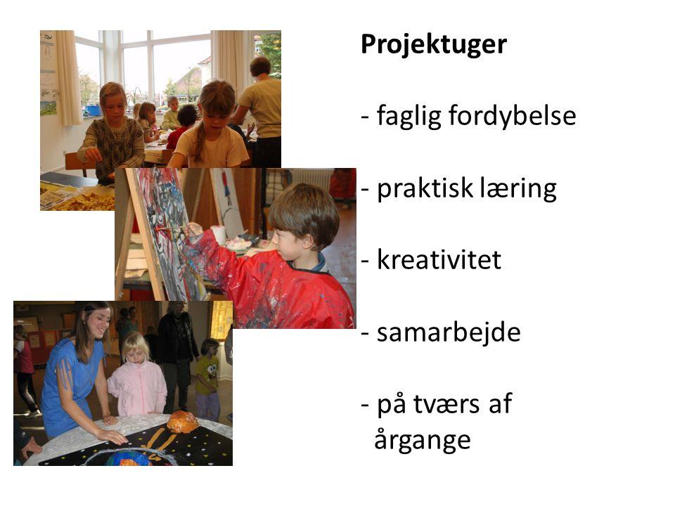 Projektuger - faglig fordybelse - praktisk læring - kreativitet - samarbejde - på tværs af årgange