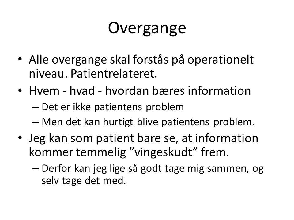 Overgange Alle overgange skal forstås på operationelt niveau. Patientrelateret. Hvem - hvad - hvordan bæres information.