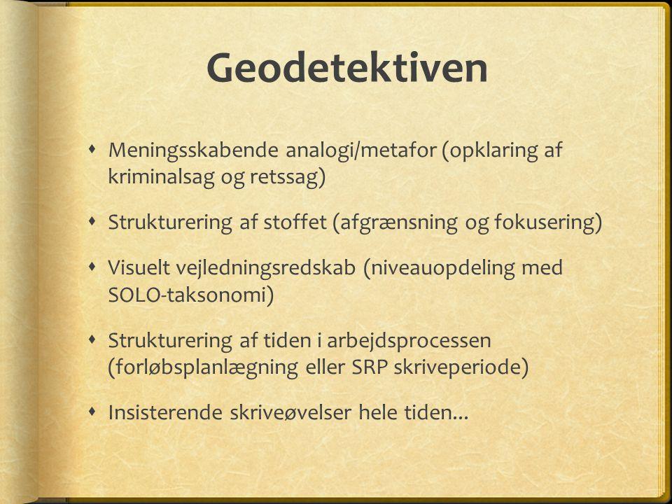 Geodetektiven Meningsskabende analogi/metafor (opklaring af kriminalsag og retssag) Strukturering af stoffet (afgrænsning og fokusering)