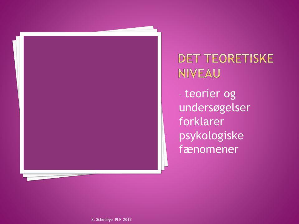 Det teoretiske niveau - teorier og undersøgelser forklarer psykologiske fænomener.