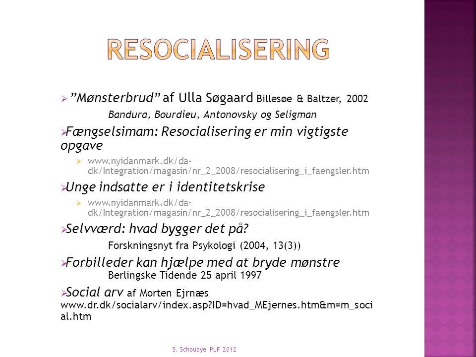 resocialisering Mønsterbrud af Ulla Søgaard Billesøe & Baltzer, 2002
