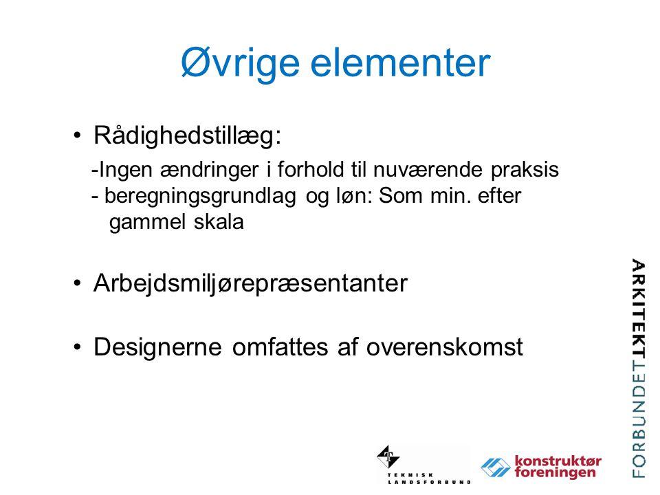 Øvrige elementer Rådighedstillæg: Arbejdsmiljørepræsentanter