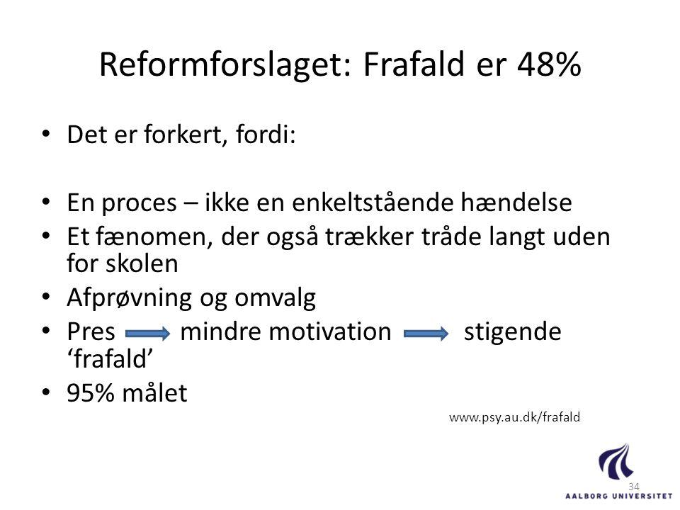 Reformforslaget: Frafald er 48%