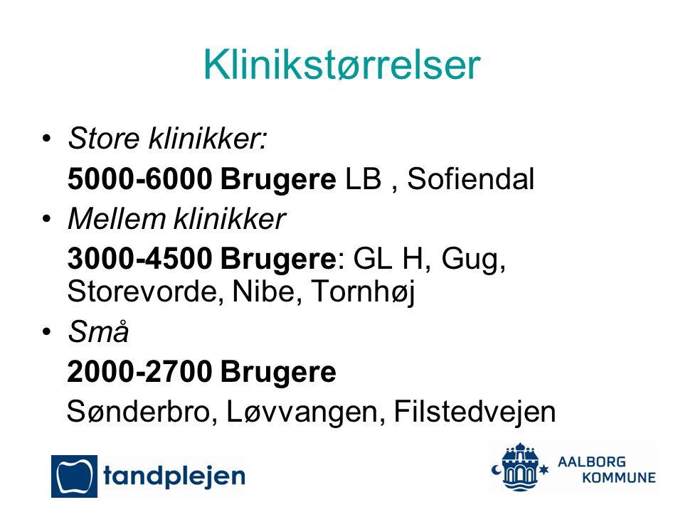 Klinikstørrelser Store klinikker: 5000-6000 Brugere LB , Sofiendal
