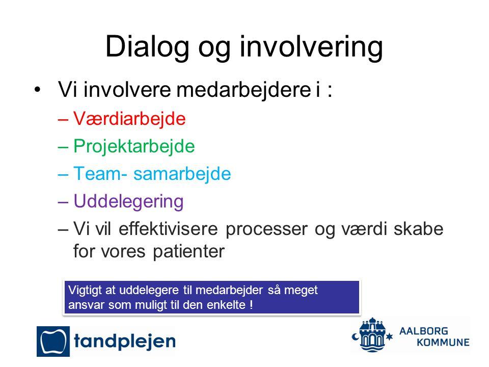 Dialog og involvering Vi involvere medarbejdere i : Værdiarbejde