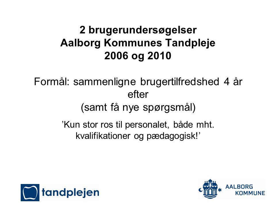 2 brugerundersøgelser Aalborg Kommunes Tandpleje 2006 og 2010 Formål: sammenligne brugertilfredshed 4 år efter (samt få nye spørgsmål)