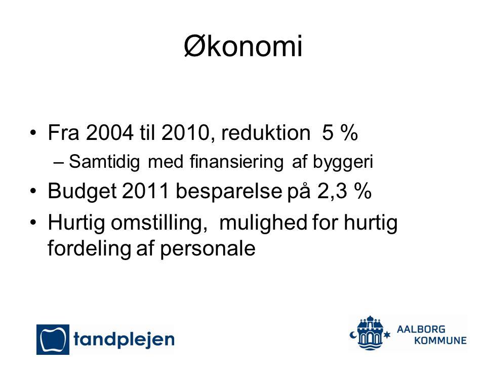 Økonomi Fra 2004 til 2010, reduktion 5 %
