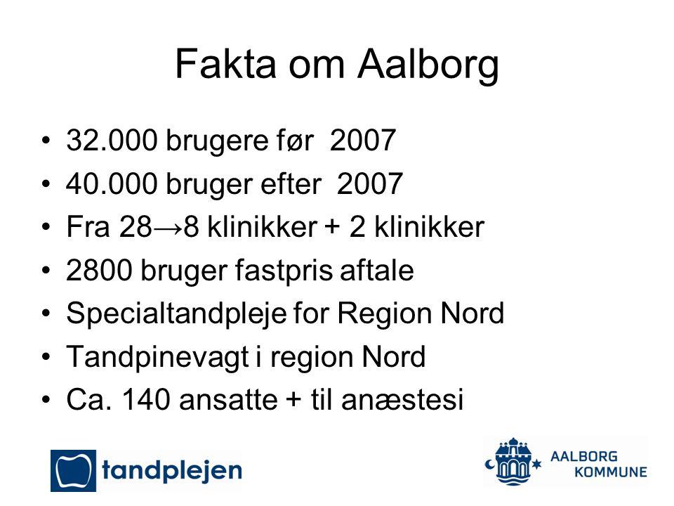 Fakta om Aalborg 32.000 brugere før 2007 40.000 bruger efter 2007