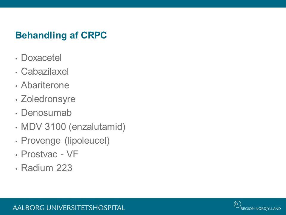 Behandling af CRPC Doxacetel. Cabazilaxel. Abariterone. Zoledronsyre. Denosumab. MDV 3100 (enzalutamid)