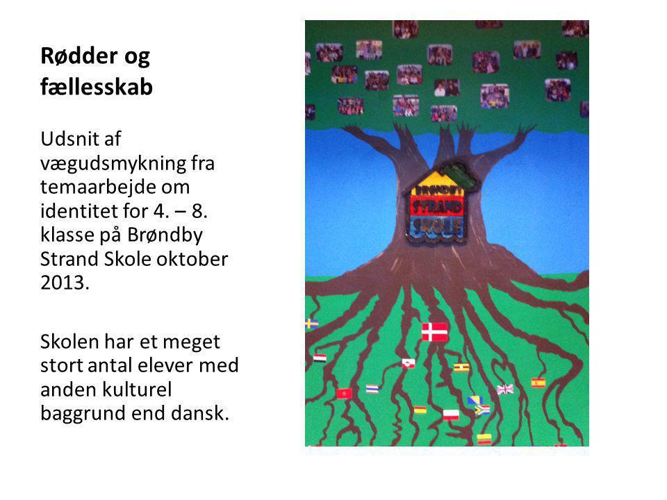 Rødder og fællesskab Udsnit af vægudsmykning fra temaarbejde om identitet for 4. – 8. klasse på Brøndby Strand Skole oktober 2013.