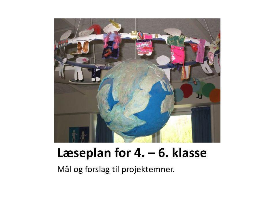 Læseplan for 4. – 6. klasse Mål og forslag til projektemner.