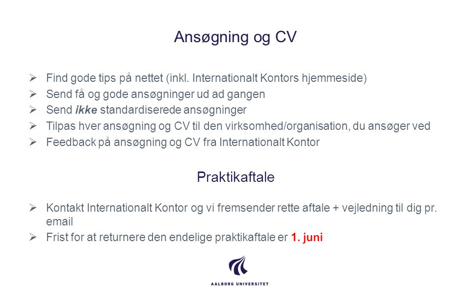 Ansøgning og CV Praktikaftale