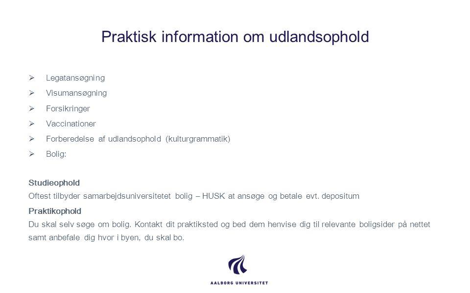 Praktisk information om udlandsophold