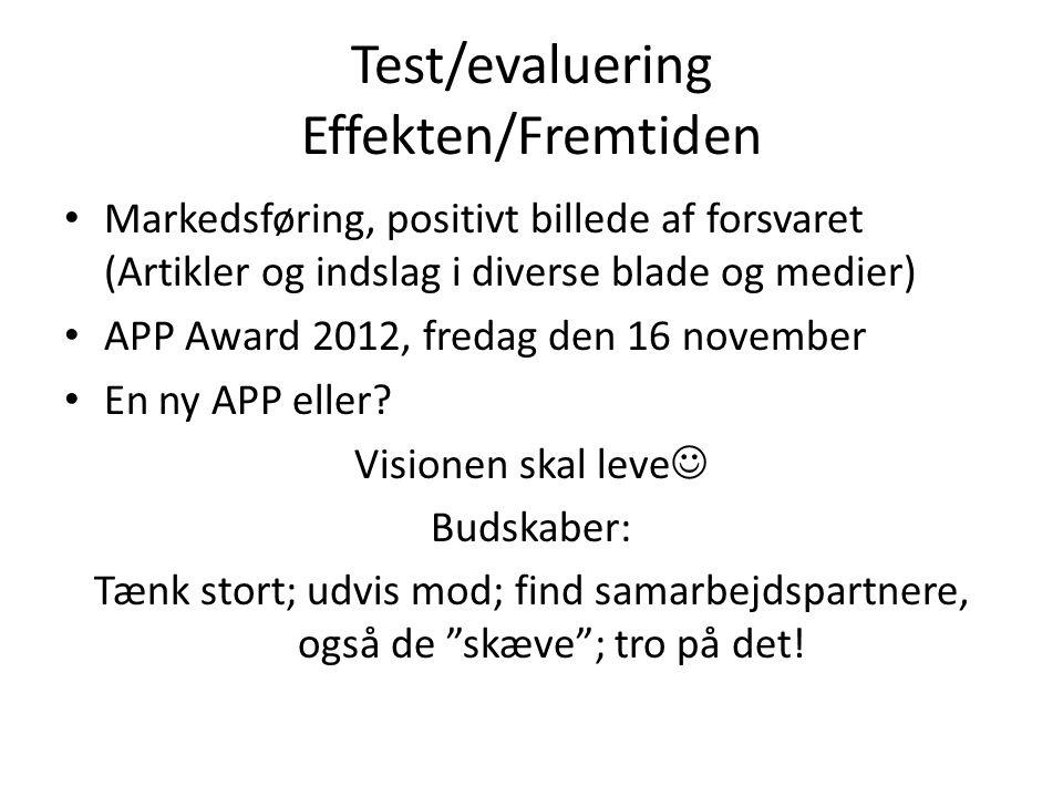 Test/evaluering Effekten/Fremtiden