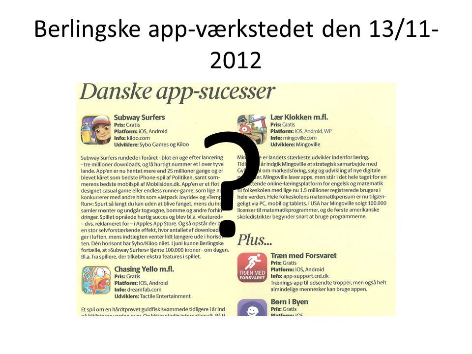 Berlingske app-værkstedet den 13/11-2012