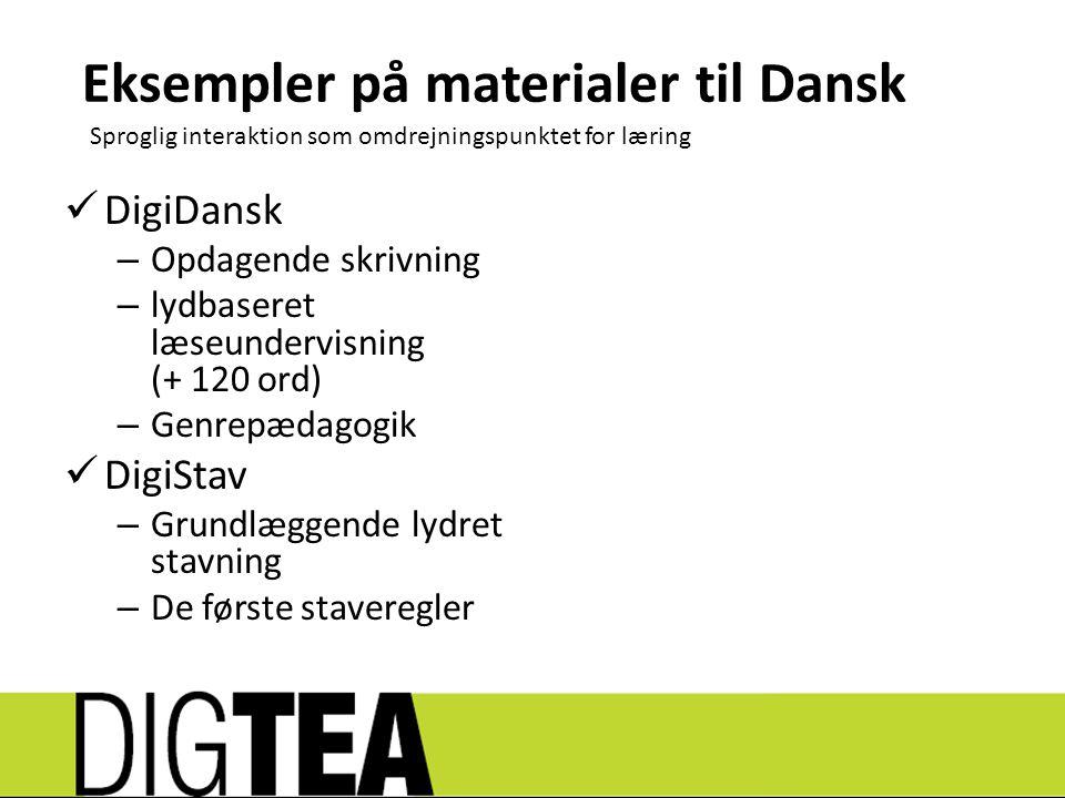 Eksempler på materialer til Dansk