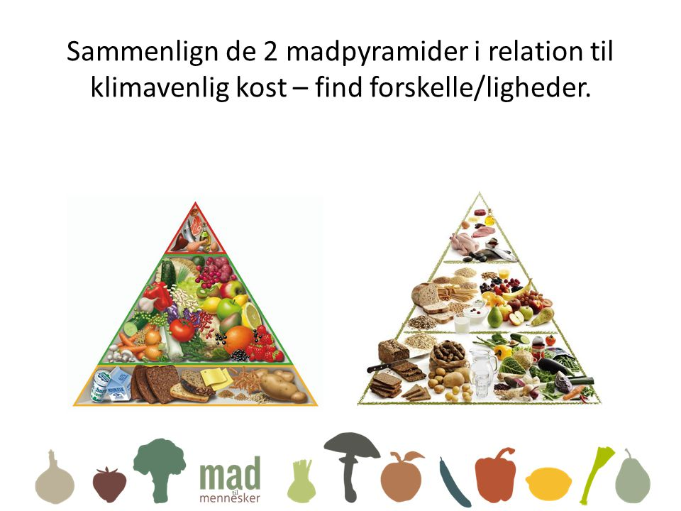 Sammenlign de 2 madpyramider i relation til klimavenlig kost – find forskelle/ligheder.