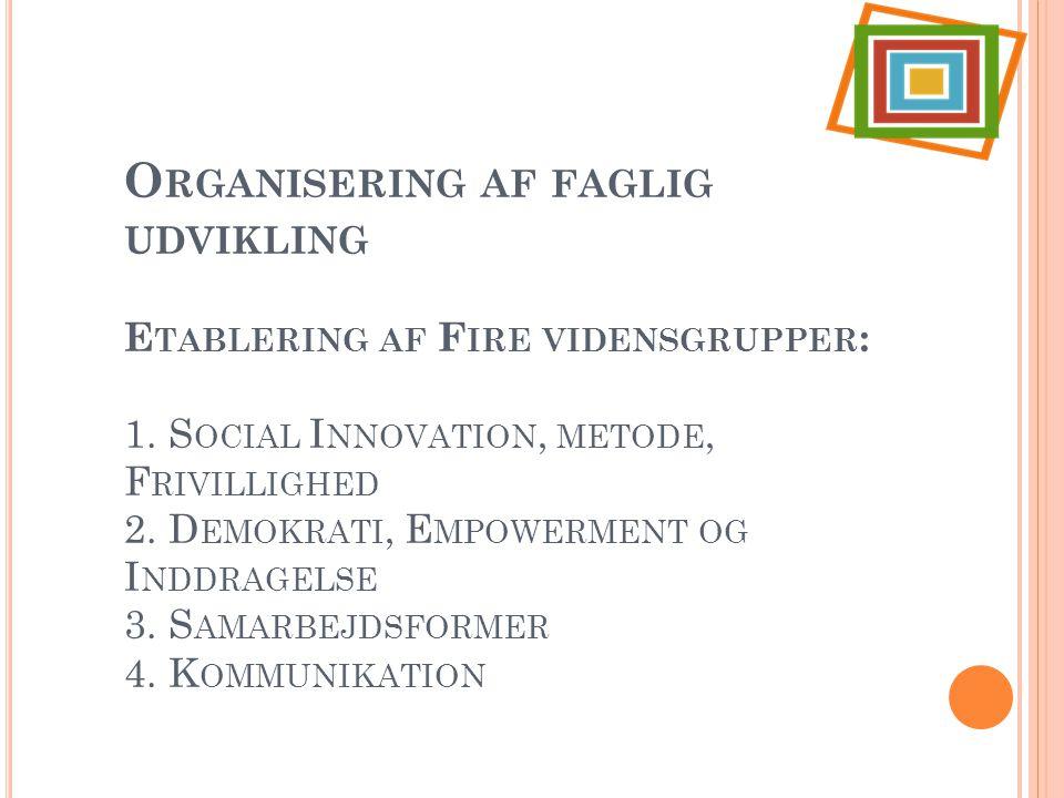 Organisering af faglig udvikling Etablering af Fire vidensgrupper: 1
