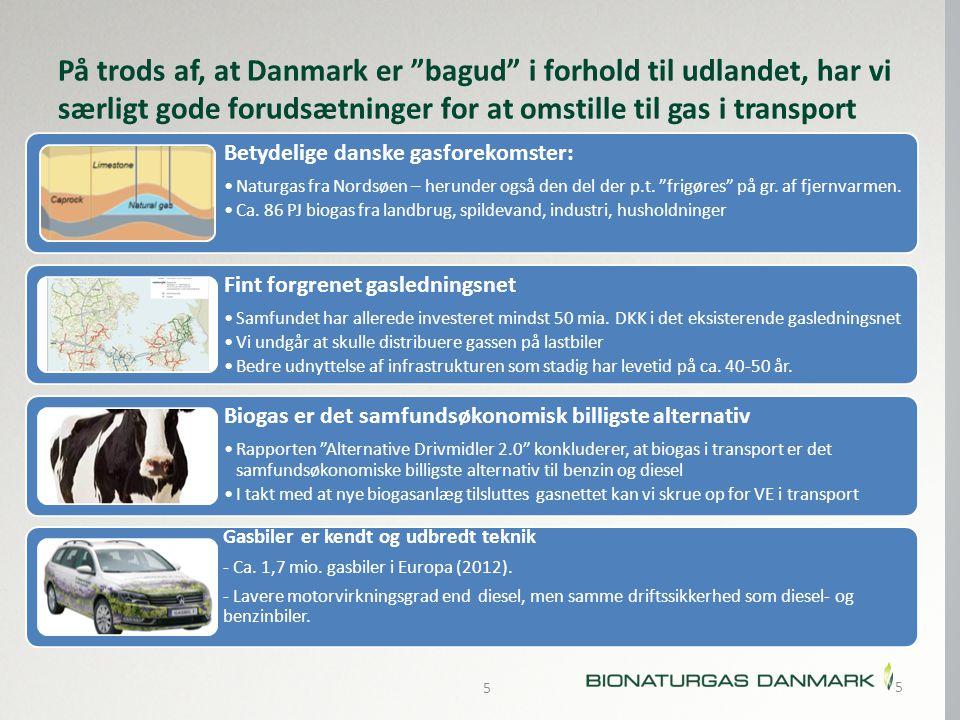 På trods af, at Danmark er bagud i forhold til udlandet, har vi særligt gode forudsætninger for at omstille til gas i transport