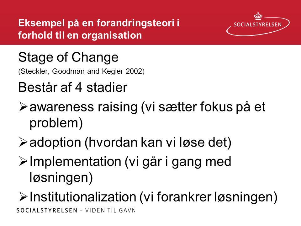 Eksempel på en forandringsteori i forhold til en organisation