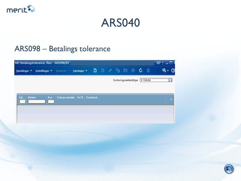 ARS040 ARS098 – Betalings tolerance